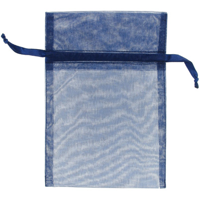 Jewelry pouch gift bag, 5x7 inch, navy sheer ribbon