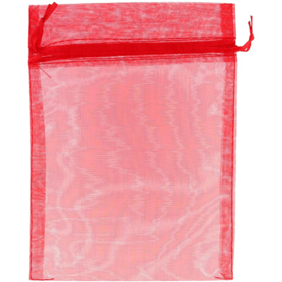 Jewelry pouch gift bag, 5x7 inch, red sheer ribbon