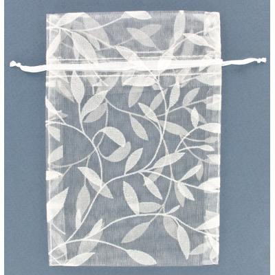 Jewelry pouch gift bag 4x5, leaves pattern, sheer ribbon, white