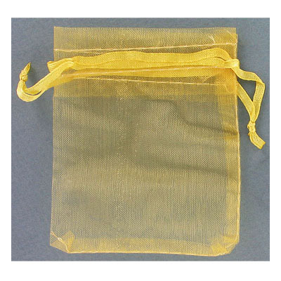 Jewelry pouch gift bag, 2.75x3.5 inch, gold sheer ribbon