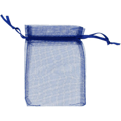 Jewelry pouch gift bag, 3x4 inch, navy sheer ribbon