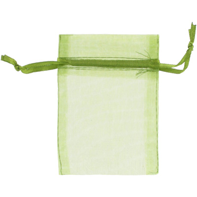 Jewelry pouch gift bag, 3x4 inch, olive sheer ribbon