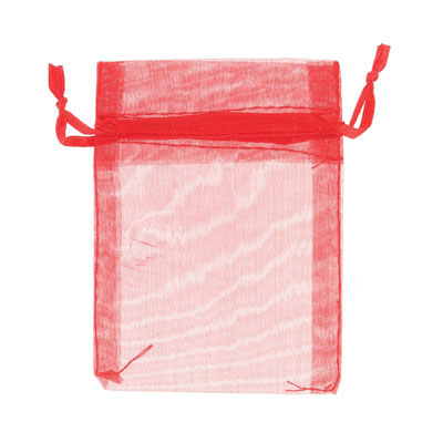 Jewelry pouch gift bag, 3x4 inch, red sheer ribbon