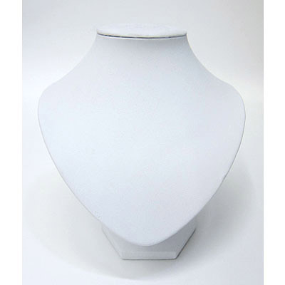 Necklace display, 6.5x7.5 inch, white leatherette