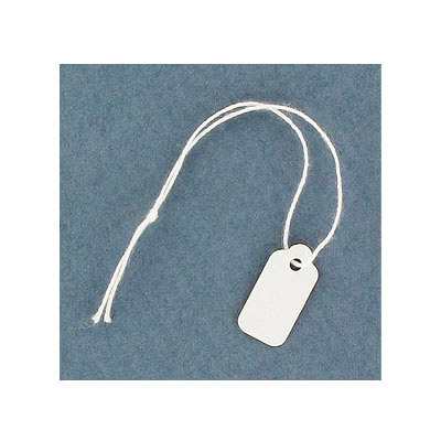 White label tags, 8x20mm, with 75mm long string (approx.)