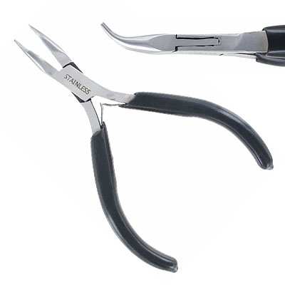 Bent nose pliers, 4.5 inch, stainless steel