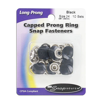 Capped prong ring snap fasteners, size 24 (16mm), black