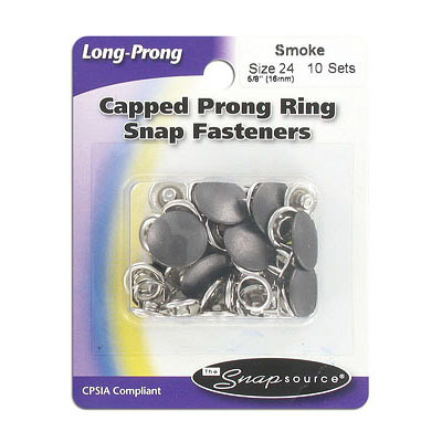 Capped prong ring snap fasteners, size 24 (16mm), smoke