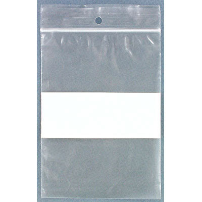Resealable plastic bag. Clear with white patch. 10x14cm (4x5.5)