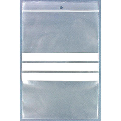 Resealable plastic bag. Clear with white patch. 14x20cm (5.5x8)