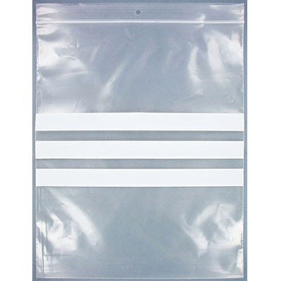Resealable plastic bag. Clear with white patch. 23x28cm (9x11)