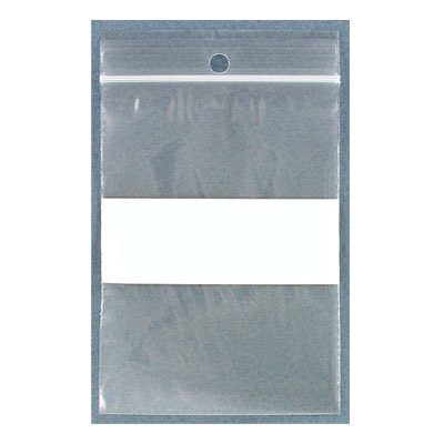 Resealable plastic bag. Clear with white patch. 7x10cm (2.75x4)