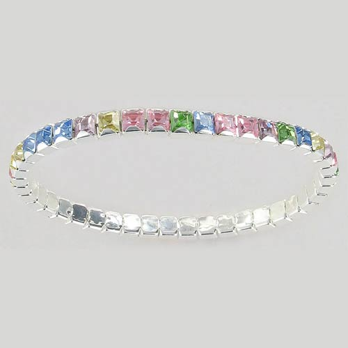 Swarovski bracelet, multicolor, light (light rose, light sapphire, peridot, jonquil, light amethyst), square silver plat