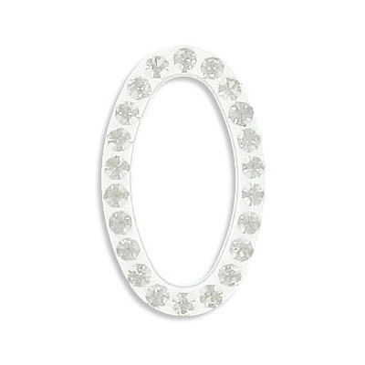 Rhinestone component, oval, 25x15mm, crystals on white