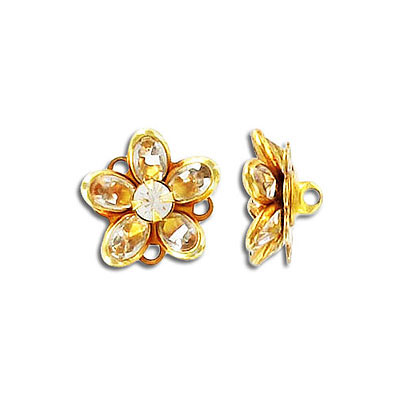Button 8x6mm oval crystal gold plate Swarovski