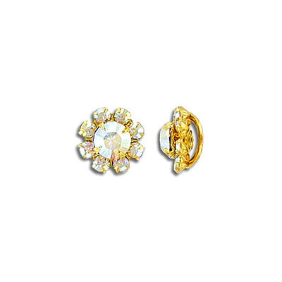 Stone button AB crystal gold plate