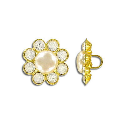 Button pearl crystal gold plate