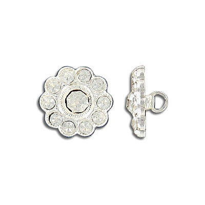 Button crystal silver plate
