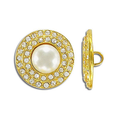 Button crystal with pearl gold plate