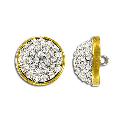 Cz button crystal gold plate