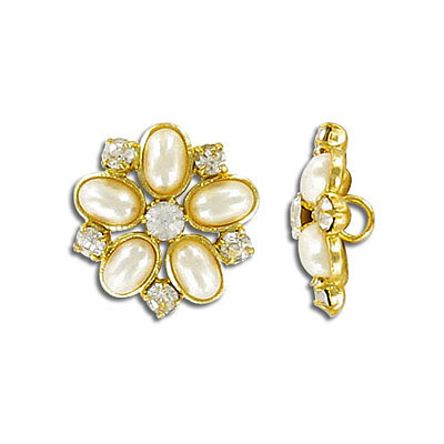 Button crystal gold plate