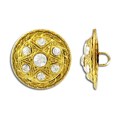 Button crystal antique gold plate