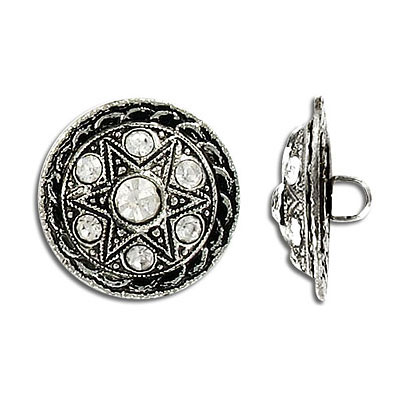 Crystal button, antique silver