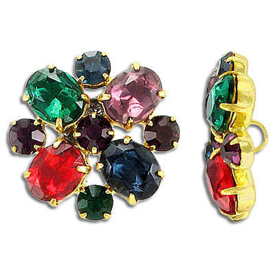 Multicolor crystal button, gold plate