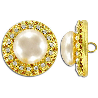 Button crystal with cream pearl gold plate