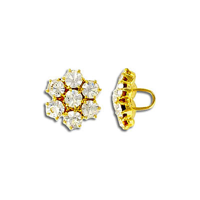 Crystal button, gold plate