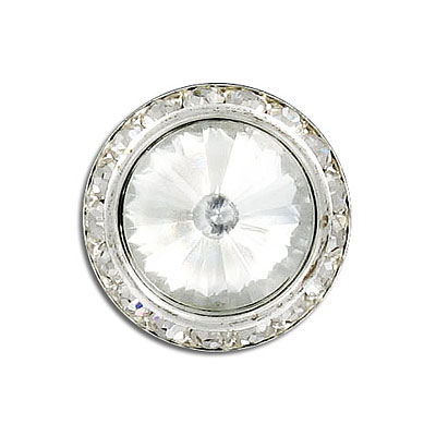 Rivoli button with shank, crystal, silver plate