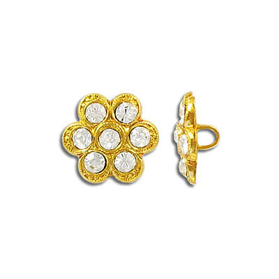 Rhinestone button crystal gold plate