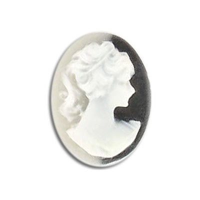 Plastic cameo white face/black