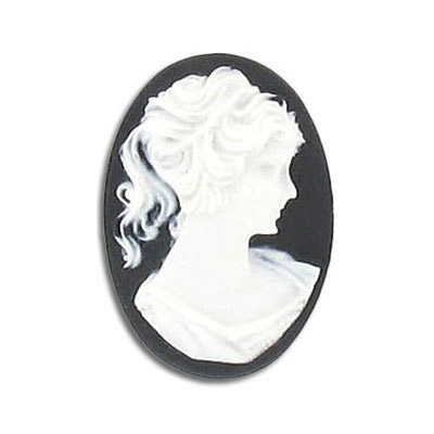 Plastic cameo  black/white face