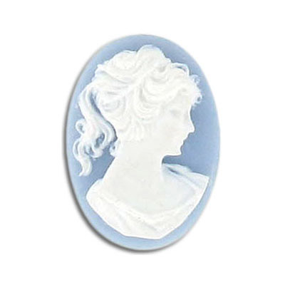 Plastic cameo  white face/blue