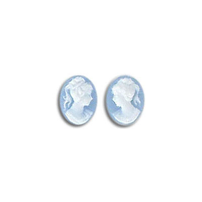 Plastic cameo, 8x6mm, white face/blue