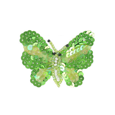 Beaded butterfly motif two-tone green