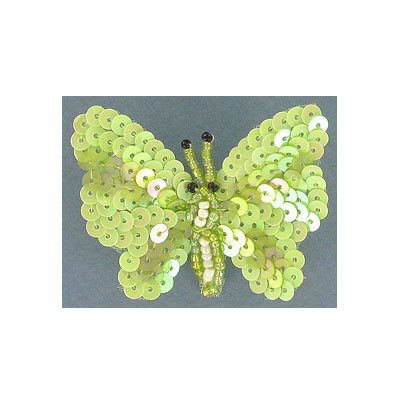 Beaded butterfly motif two-tone light green
