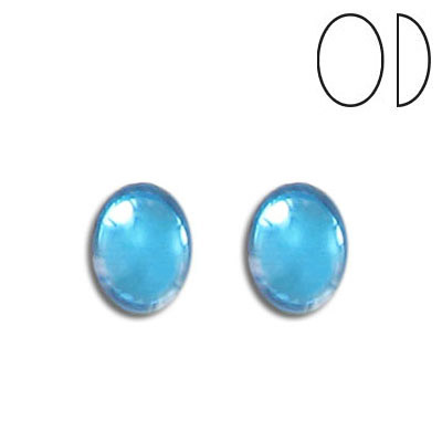 Glass cabochon, 10x8mm, aquamarine