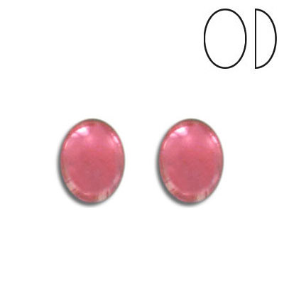 Glass cabochon, 10x8mm, rose