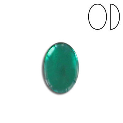 Glass cabochon, 14x10mm, emerald