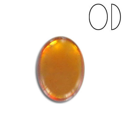 Glass cabochon, 18x13mm, topaz