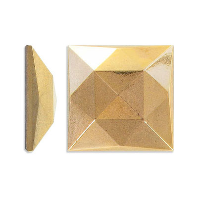 Glass stone, cabochon, 30x30mm, square, faceted, bronze