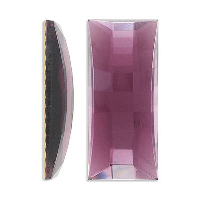 Glass stone, cabochon, 45x20mm, rectangle, amethyst