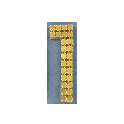 Iron-on mesh motif hot-fix no.1 gold