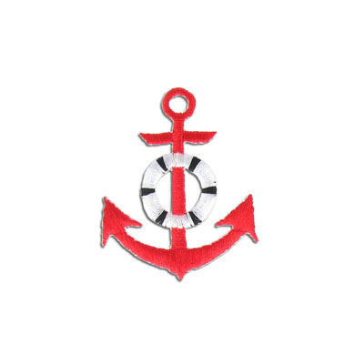 Iron-on embroidery applique, 37x45mm, anchor, red