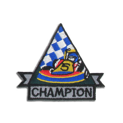 Iron-on embroidery applique, 6.1x5.5cm, racing champion