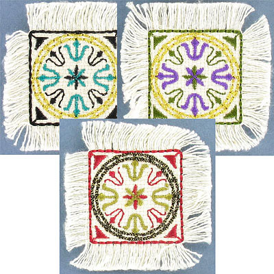 Iron-on embroidery applique, mini carpet, assorted colors, 5.5cm