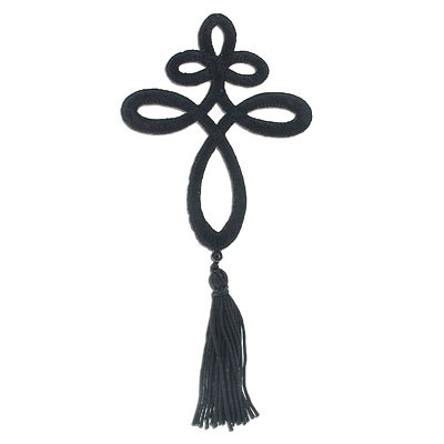 Iron-on embroidery applique, knote and tassel, 7.5x17cm, black