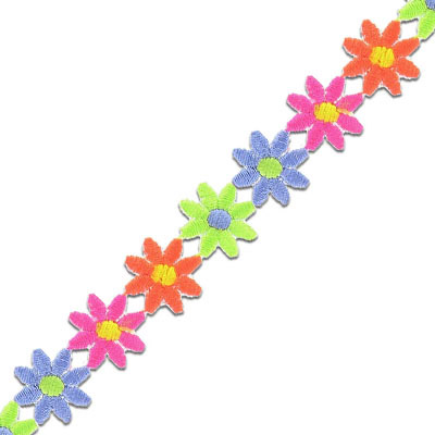 Iron-on embroidery applique, multi-color flowers, 16mm, 4.7m spool